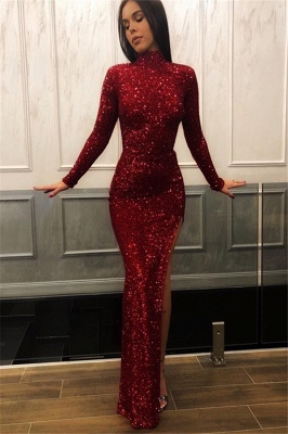 Burgundy Sheath High Neck Sequins Lace Long Sleeves Side Slit Prom Dress_1