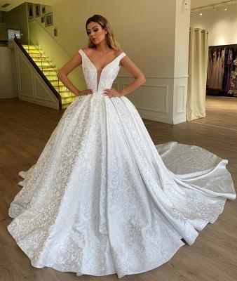 Chicloh Elegant Ball Gown Off The Shoulder Appliques Wedding Dresses_2