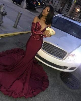 Sexy Burgundy Sequins Mermaid Long Sleeves Prom Dress BC1250_4