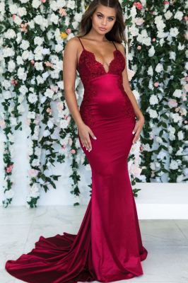 Burgundy Spaghetti-Straps Lace Appliques Mermaid Backless Prom Dress_2