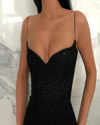 Black Sheath Sequins Spaghetti Straps Open Back Prom Dresses_2