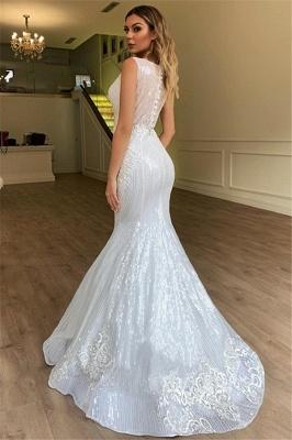 Chicloh Glamorous Sheer Straps Mermaid Sleeveless Appliques Tulle Wedding Dresses_2