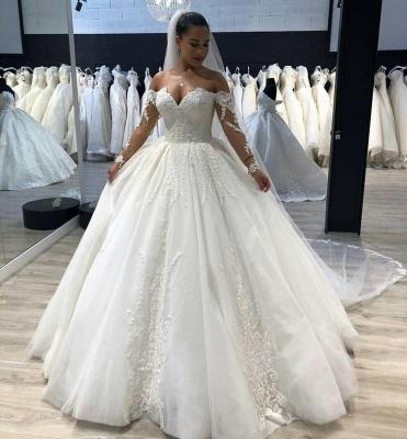 Chicloh Elegant Ball Gown Sweetheart Long Sleeves Tulle Wedding Dresses_2