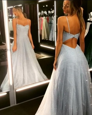Sparkly A-line Spaghetti Staps Backless Tulle Floor Length Prom Dress_1