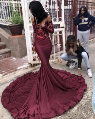 Sexy Burgundy Sequins Mermaid Long Sleeves Prom Dress BC1250_5