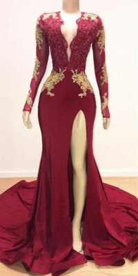 V-neck Long Sleeves Gold Lace Appliques Split Mermaid Evening Gowns_2