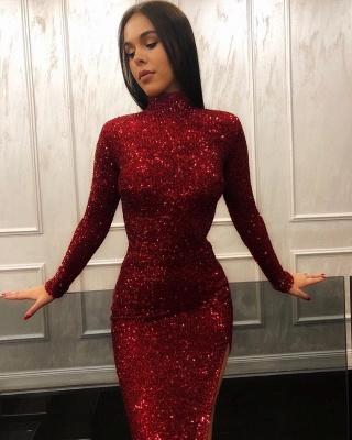 Burgundy Sheath High Neck Sequins Lace Long Sleeves Side Slit Prom Dress_2