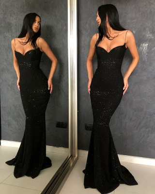 Black Sheath Sequins Spaghetti Straps Open Back Prom Dresses_3