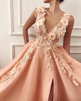 A-Line Straps V-Neck Flower Appliques Side Split Prom Dress_2