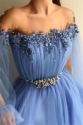 A-Line Off-The-Shoulder Appliques Tulle Beads Belt Prom Dress_3