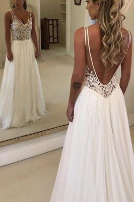 A-line Open Back V-neck Lace Chiffon Wedding Dress_3
