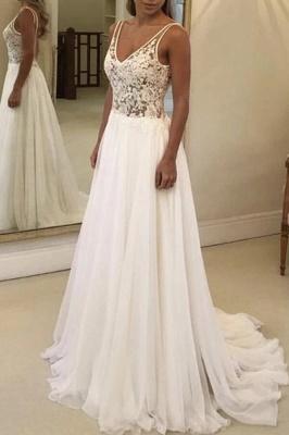 A-line Open Back V-neck Lace Chiffon Wedding Dress_4