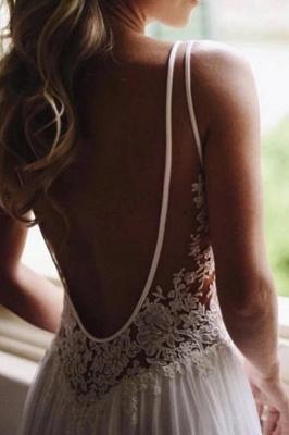 A-line Open Back V-neck Lace Chiffon Wedding Dress_5