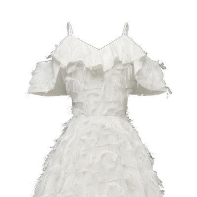 Burgundy V Neck Women Feathers Spaghetti Straps Dress_16