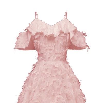 Burgundy V Neck Women Feathers Spaghetti Straps Dress_8