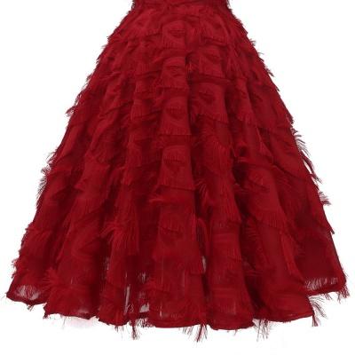 Burgundy V Neck Women Feathers Spaghetti Straps Dress_7