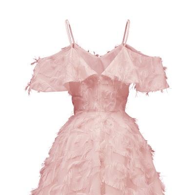 Burgundy V Neck Women Feathers Spaghetti Straps Dress_11