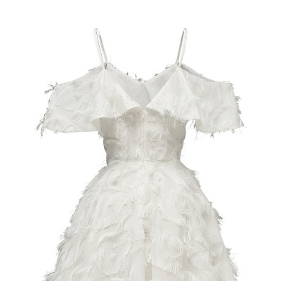 Burgundy V Neck Women Feathers Spaghetti Straps Dress_13