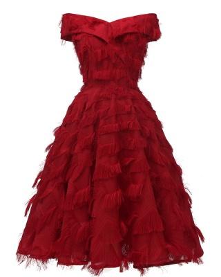Burgundy Cute Short Women's Dresses Homecoming Dresses_3