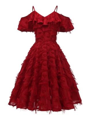 Burgundy V Neck Women Feathers Spaghetti Straps Dress_3