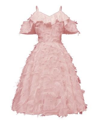 Burgundy V Neck Women Feathers Spaghetti Straps Dress_2