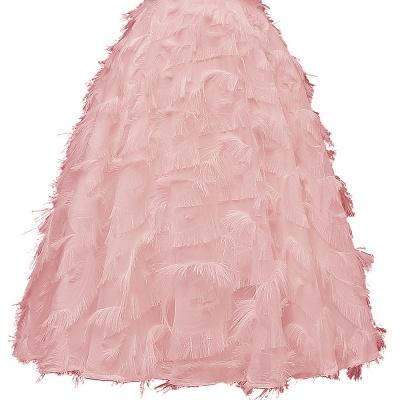 Burgundy V Neck Women Feathers Spaghetti Straps Dress_9