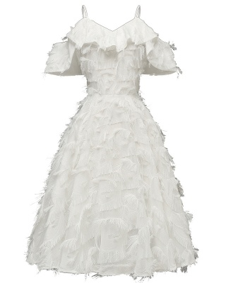 Burgundy V Neck Women Feathers Spaghetti Straps Dress_1