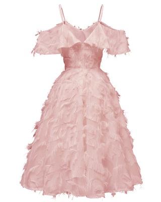 Burgundy V Neck Women Feathers Spaghetti Straps Dress_10