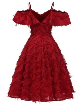 Burgundy V Neck Women Feathers Spaghetti Straps Dress_6