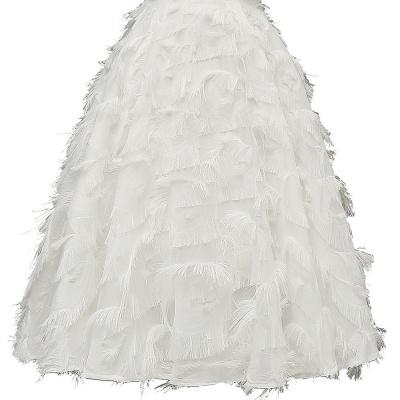 Burgundy V Neck Women Feathers Spaghetti Straps Dress_17