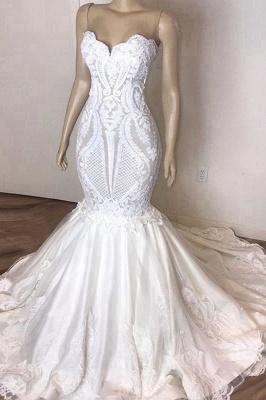 Chicloh Amazing Strapless Appliques Mermaid Wedding Dress_1