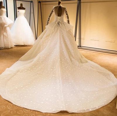 Chicloh Long Sleeve Beading Lace-up Tulle Wedding Dress_3