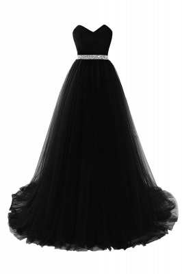 Women's Strapless Soft Tulle Dark Red Prom Dress_6