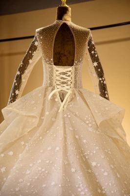 Chicloh Long Sleeve Beading Lace-up Tulle Wedding Dress_6