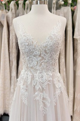 Chicloth Chic V-neck Appliques Tulle A-line Wedding Dress_2