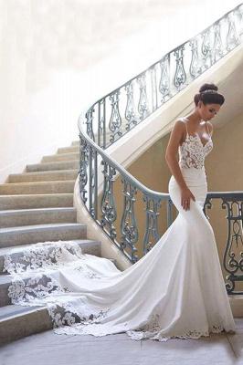 Chicloth Precious Spaghetti Strap Lace Mermaid Wedding Dress_1