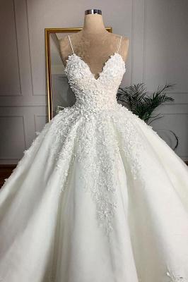 Chicloh Spaghetti Strap Appliques Satin Wedding Dress_3