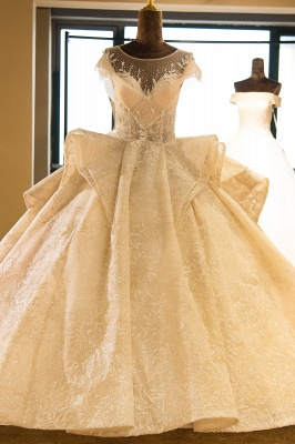 Chicloh Cap Sleeve Appliques Tulle A-line Wedding Dress_1