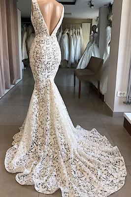 Chicloh Vintage V-neck Mermaid Lace Wedding Dresses_3