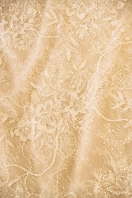 Chicloh Cap Sleeve Appliques Tulle A-line Wedding Dress_8