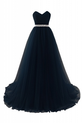 Women's Strapless Soft Tulle Dark Red Prom Dress_5