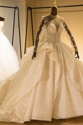 Chicloh Long Sleeve Beading Lace-up Tulle Wedding Dress_4