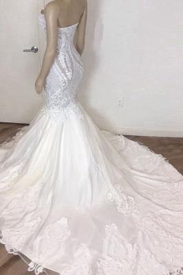 Chicloh Amazing Strapless Appliques Mermaid Wedding Dress_3