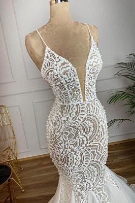 Chicloh Gorgeous Beaded Lace Organza Mermaid Wedding Dress_3