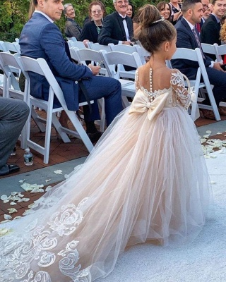 Princess Jewel Long Sleeves Lace Tulle Flower Girl Dresses with Bowknot_3