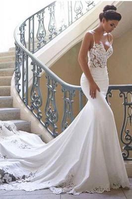 Chicloth Precious Spaghetti Strap Lace Mermaid Wedding Dress_5