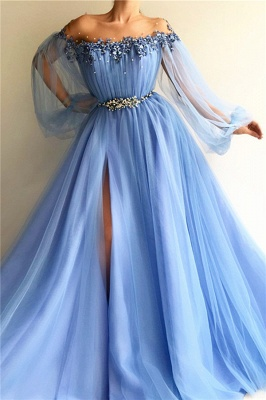 A-Line Off-The-Shoulder Appliques Tulle Beads Belt Prom Dress