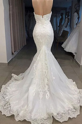 Chicloh Amazing Sweetheart Appliqued Mermaid Wedding Dress_3