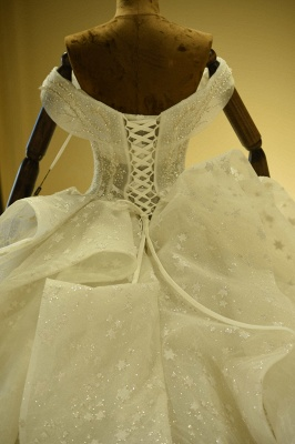 Chicloh Eye-catching Lace-up Tulle Ball Gown Wedding Dress_7