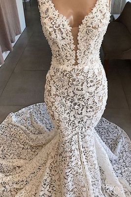 Chicloh Vintage V-neck Mermaid Lace Wedding Dresses_4